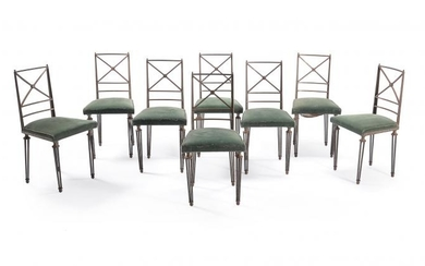 Gilbert Poillerat (attributed), a French iron dining table and chairs