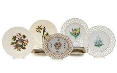 A Group of Porcelain Plates 17 total. Diame