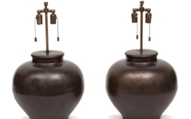 A Pair of Karl Springer Brass Based Table Lamps