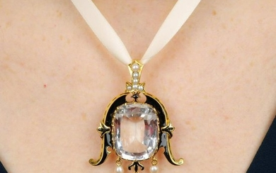 A light pink topaz, black enamel, pearl and split pearl