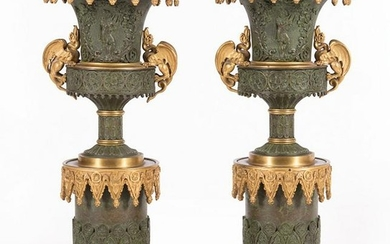 Louis Philippe Patinated Bronze Urns