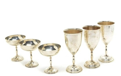 Mexican Sterling Silver Set of Wine Glasses and Coups.