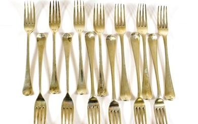 A Set of Seven Silver Table-Forks, Marked Indistinctly, Old English...