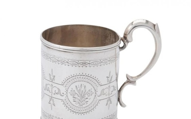 A Victorian silver cylindrical christening mug by Thomas Smily