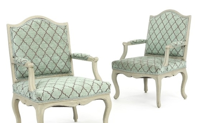 A pair of broad painted Swedish Rococo armchairs. Mid 18th century. (2).
