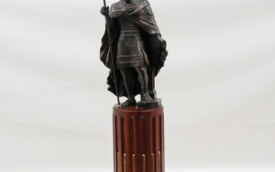 GRAND TOUR STYLE BRONZE SCULPTURE OF MAN W/STAFF