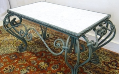 FRENCH LOUIS XV STYLE MARBLE TOP IRON LOW TABLE