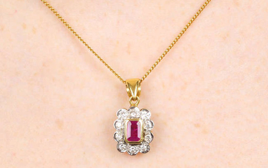 A rectangular-shape ruby and brilliant-cut diamond cluster pendant, with chain.
