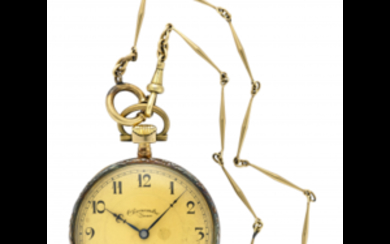 ZENA Gent's 18K gold pocket watch, with chain Late...