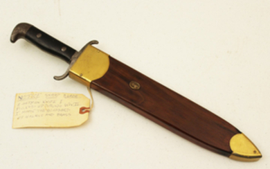 GERMAN FIREMAN FIELD KNIFE IN WALNUT AND BRASS SCABBARD