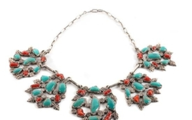 Zuni Silver, Turquoise and Coral Necklace