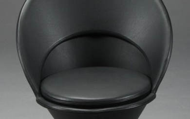 Verner Panton. Chair, Verner Panton. Chair, Cone Chair. Fully upholstered in black leather
