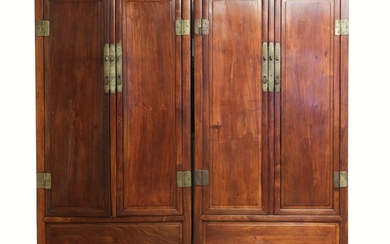Pair of Chinese Hardwood Scholars Cabinets A5WAF
