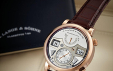 A. Lange & Söhne. A Fine and Rare Pink Gold JUMP HOUR AND MINUTE WRISTWATCH WITH STRIKING TIME AND POWER RESERVE INDICATOR
