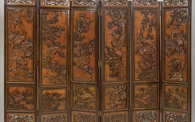 Chinese six-sheet folding screen made of carved wood,