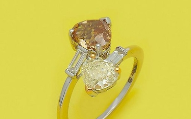 Extravaganter Fancy-Yellow-Brown-Diamantring