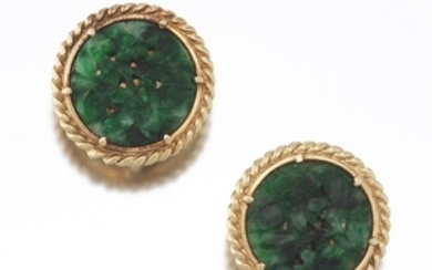 Ladies' Gold and Carved Jade Nephrite Pair of Ear Clips