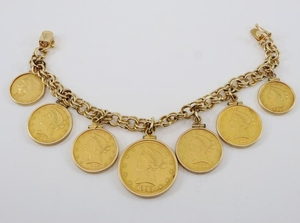Gold Bracelet with 7 coins