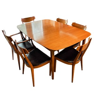 Lot Art Mid Century Modern Drexel Dining Table With Six Chairs,What Is The Best Color For A Metal Roof
