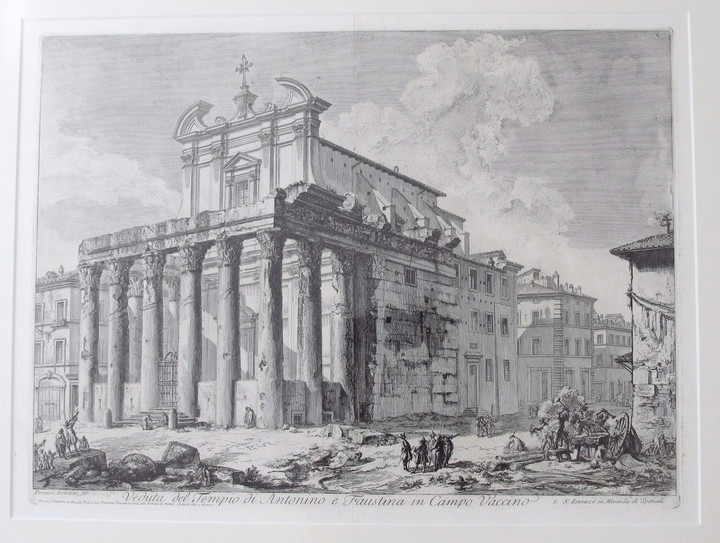 Piranesi, Giovanni: THE TEMPLE OF ANTONINUS AND FAUSTINA, Year 1758.