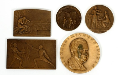 FRENCH BRONZE ART MEDALLIONS, C 1900
