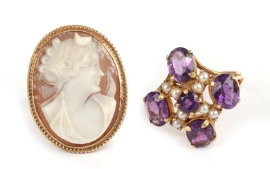 A 9 Carat Gold Amethyst and Seed Pearl Cluster Ring,...