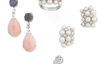 A pair of diamond earhoops, a pair of gem-set pendent earrings and a cultured pearl and diamond ring and earring suite