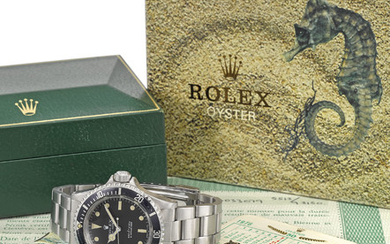 ROLEX. A RARE STAINLESS STEEL AUTOMATIC WRISTWATCH WITH SWEEP CENTRE SECONDS, BRACELET, ROLEX OYSTER GUARANTEED 660FT/200M UNDER WATER ANCHOR, ORIGINAL GUARANTEE AND BOX, SIGNED ROLEX, OYSTER PERPETUAL, 660FT=200M, SUBMARINER, REF. 5513, CASE NO....