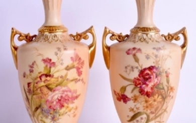 A PAIR OF ROYAL WORCESTER BLUSH IVORY TWIN HANDLED