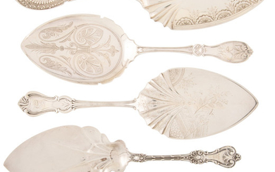A Group of Five American Silver Pie Servers (late 19th centur)