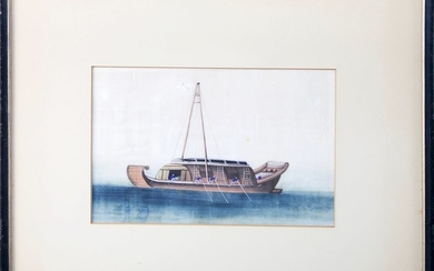 """19th Century Chinese Export Watercolor """"Portrait of a Junk"""""""