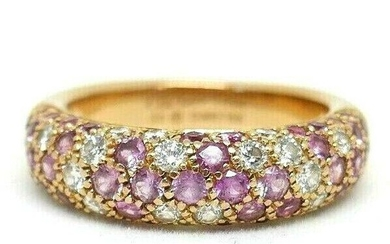 Cartier 18k Rose Gold Diamond and Pink Sapphire Band