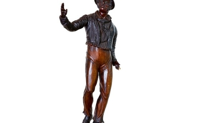 CARVED AND PAINTED WOOD COUNTERTOP FIGURE OF 'JACK TAR', ENGLAND, CIRCA 1860