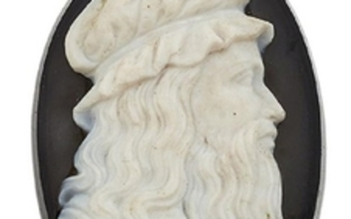 A 19th century agate cameo, the black...
