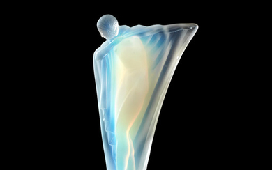 An Art Deco 'Draped Nude' mascot in opalescent glass by Lucile Sevin for Etling of Paris, French, introduced 1932,