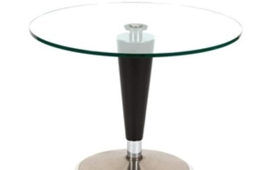 A Contemporary Glass Top Steel Coffee Table
