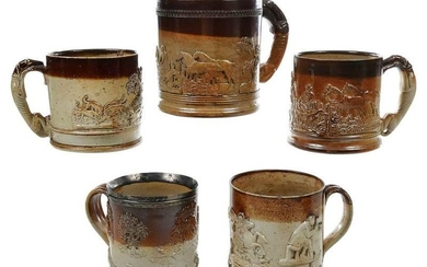 Five Oversize British Stoneware Tavern Mugs
