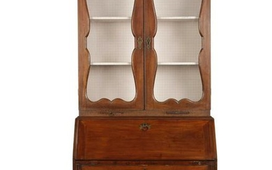A George II walnut secretary bookcase