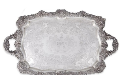 A George III sterling silver serving tray probably Robert...