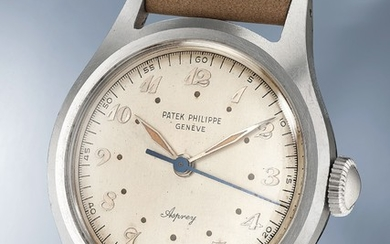 Patek Philippe, Ref. 565 A highly rare and most probably unique stainless steel wristwatch with Breguet numerals, luminous dial and hands