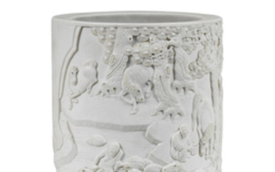A very rare carved biscuit porcelain 'Eight Horses of Muwang' brushpot, bitong