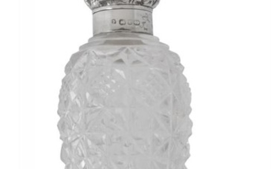 A Victorian silver mounted cut glass scent bottle