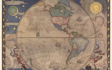 """[Lot of 2] Western Hemisphere - Map of Discovery [and] Eastern Hemisphere - Map of Discovery"", National Geographic Magazine"