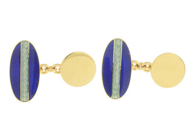 A pair of 18ct gold guilloche enamel cufflinks, by Faberge.
