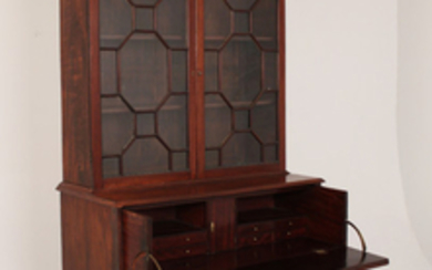 GEORGE III MAHOGANY BOOKCASE WITH SECRETAIRE