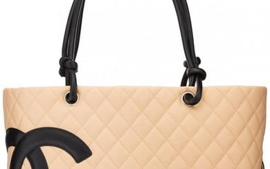 58034: Chanel Beige Quilted Lambskin Leather Ligne Camb