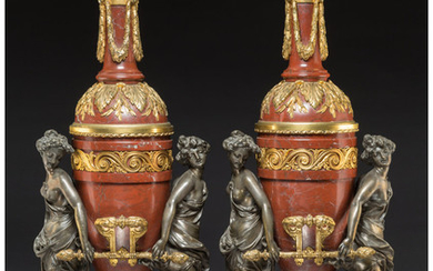A Pair of French Gilt Bronze Mounted Marble Oil Lamps (late 19th century)