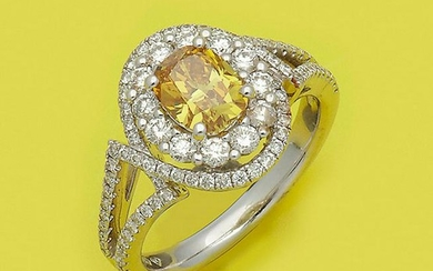 Hochqualitätvoller Fancy-Vivid-Yellow Diamantring