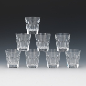 """Eight Baccarat Crystal Whiskey/Bourbon Glasses, """"Harcourt"""" Pattern"""