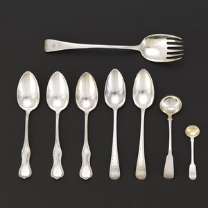 Group of Five Sterling Silver George III English Serving Pieces and Three Serving Spoons by Hennegen, Bates & Co.